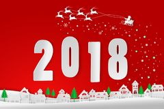 Merry Christmas and Happy New Year 2018,Santa Claus  Stock Photography