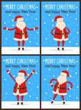 Merry Christmas and Happy New Year Santa Claus. Set of snowy light posters. Vector illustration with congratulation from cute fairytale character Royalty Free Stock Image