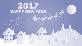 Merry Christmas and Happy New Year. Santa Claus on the sky. Vector illustration Stock Photography