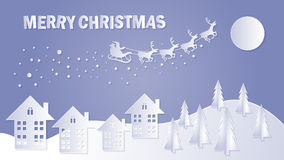 Merry Christmas and Happy New Year. Santa Claus on the sky. Vector illustration Royalty Free Stock Photography
