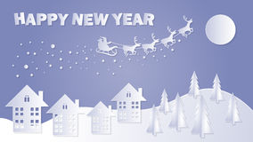 Merry Christmas and Happy New Year. Santa Claus on the sky. Vector illustration Royalty Free Stock Photos