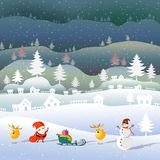 Merry Christmas and Happy New Year. Merry Christmas and Happy New Year, Santa claus and snowflake with snowman and deers, Mountain and cloud beauty used for vector illustration
