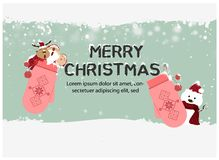 Merry Christmas and Happy New Year,Santa Claus,Snowman,Reindeer with little kids are in gloves happy greeting card. Merry, december, christmas, gift, holiday vector illustration