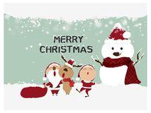 Merry Christmas and Happy New Year,Santa Claus,Snowman,Reindeer with little kids happy greeting card. Merry, december, christmas, gift, holiday, winter vector illustration
