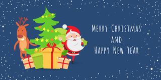 Merry Christmas and Happy New Year. Santa. Deer. Merry Christmas and Happy New Year. Santa Claus and deer near decorated Christmas tree. Different boxes of Royalty Free Stock Image