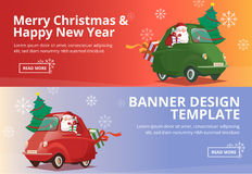 Merry Christmas and Happy New Year Santa Drive Car Banner Design. Merry Christmas and Happy New Year With Santa Drive Green Car Has Tree and Gift Banner Design Royalty Free Illustration