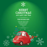 Merry Christmas and Happy New Year Santa Drive Car. Merry Christmas and Happy New Year With Santa Drive Green Car Has Tree and Gift Stock Illustration