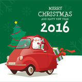 Merry Christmas and Happy New Year Santa Drive Car 2016. Merry Christmas and Happy New Year With Santa Drive Green Car Has Tree and Gift for 2016 Royalty Free Illustration
