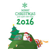 Merry Christmas and Happy New Year 2016. With Santa Drive Green Car Has Tree and Gift Vector Illustration