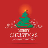 Merry Christmas and Happy New Year. With Santa Drive Green Car Has Tree and Gift Royalty Free Stock Images