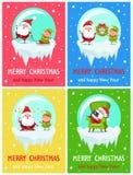 Merry Christmas Happy New Year Santa Elf Banners Stock Illustration