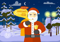 Merry Christmas and Happy New Year from Santa. He is among forest and white field on night city background. Dark block of flats with switched lights. Stars and vector illustration