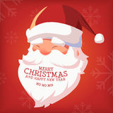 Merry Christmas and Happy New Year 2016. Merry Christmas and Happy New Year With Santa Head Vector Illustration