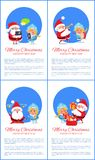 Merry Christmas Happy New Year Santa Snow Maiden. Merry Christmas and Happy New Year posters with Santa and Snow Maiden chatting on tablets, playing musical Stock Photos