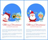 Merry Christmas Happy New Year Santa Snow Maiden. Merry Christmas and Happy New Year posters with Santa and Snow Maiden listening to music, dancing on head Stock Images