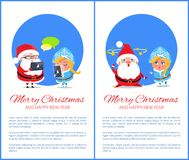 Merry Christmas Happy New Year Santa Snow Maiden. Merry Christmas and Happy New Year posters with Santa and Snow Maiden chatting in Internet on smartphones Stock Images