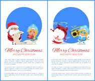 Merry Christmas Happy New Year Santa Snow Maiden. Merry Christmas and Happy New Year posters with Santa and Snow Maiden listening to music, dancing on head Royalty Free Stock Images