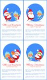 Merry Christmas Happy New Year Santa Snow Maiden. Merry Christmas and Happy New Year posters Santa and Snow Maiden merrily jumping, playing on trumpet, putting Royalty Free Stock Image
