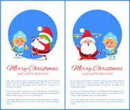 Merry Christmas Happy New Year Santa Snow Maiden. Merry Christmas and Happy New Year posters with Santa and Snow Maiden playing hide-and seek cover on eyes Royalty Free Stock Images