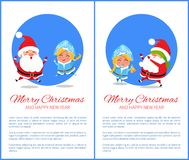 Merry Christmas Happy New Year Santa Snow Maiden. Merry Christmas and Happy New Year posters set with Santa and Snow Maiden playing hide-and-seek, jumping high Stock Images