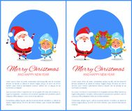 Merry Christmas Happy New Year Santa Snow Maiden. Merry Christmas and Happy New Year posters with Santa and Snow Maiden singing caro songs, hanging decorative Stock Image