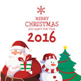 Merry Christmas and Happy New Year 2016. Merry Christmas and Happy New Year With Santa Snowman and Tree Royalty Free Illustration