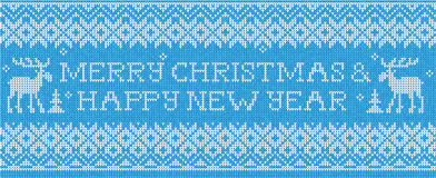 Merry Christmas & Happy New Year: Scandinavian style seamless kn Stock Photo