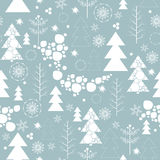 Merry Christmas and Happy New Year. Seamless background on Merry Christmas and new year. The depicts a Christmas tree different design, tree, snowflakes and snow Stock Photography