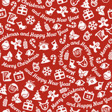 Merry Christmas and Happy New Year seamless background. White symbols on red background. Seamless background. Merry Christmas and Happy New Year Stock Photo