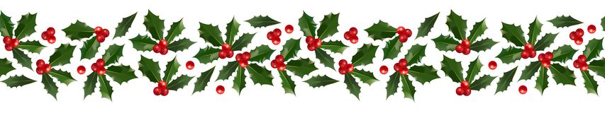 Holly Christmas decorative border. Merry Christmas and Happy New Year seamless holly pattern border isolated on white background for your holiday decoration stock illustration