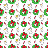 Merry Christmas and Happy New Year Seamless Pattern with Angel and Candies. Winter Holidays Wrapping Paper. Vector background Royalty Free Stock Images
