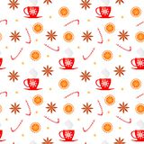 Merry Christmas and Happy New Year seamless pattern with badian, candy, orange, sparkles and cup of tea isolated on white backgrou. Nd. Vector illustration for royalty free illustration