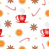 Merry Christmas and Happy New Year seamless pattern with badian, candy, orange, sparkles and cup of tea isolated on white backgrou. Nd. Vector illustration for vector illustration