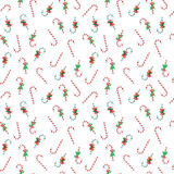 Merry Christmas and Happy New Year Seamless Pattern with Christmas Candies. Winter Holidays Wrapping Paper. Vector background Stock Image