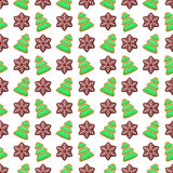 Merry Christmas and Happy New Year Seamless Pattern with Christmas Cookies. Winter Holidays Wrapping Paper. Vector background Stock Images
