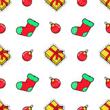 Merry Christmas and Happy New Year Seamless Pattern with Christmas Gifts and Socks. Winter Holidays Wrapping Paper. Vector background Royalty Free Stock Photo