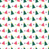 Merry Christmas and Happy New Year Seamless Pattern with Christmas Tree. Winter Holidays Wrapping Paper. Vector background Royalty Free Stock Images