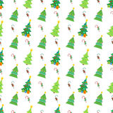 Merry Christmas and Happy New Year Seamless Pattern with Christmas Trees and Candies. Winter Holidays Wrapping Paper. Vector background Stock Image
