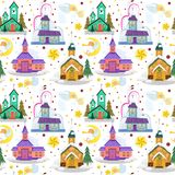 Merry christmas and happy new year seamless pattern, church and green tree under snow, christianity and Catholic winter. Merry christmas and happy new year card Stock Image