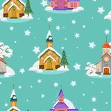 Merry christmas and happy new year seamless pattern, church and green tree under snow, christianity and Catholic winter. Merry christmas and happy new year card Stock Photo