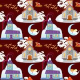 Merry christmas and happy new year seamless pattern, church and green tree under snow, christianity and Catholic winter. Merry christmas and happy new year card Stock Photography