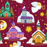 Merry christmas and happy new year seamless pattern, church and green tree under snow, christianity and Catholic winter. Merry christmas and happy new year card Royalty Free Stock Image