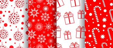 Merry Christmas and Happy New Year seamless pattern collection. Backgrounds with holiday symbols: sweets, christmas toys. Snowflakes. Red and white colors royalty free illustration