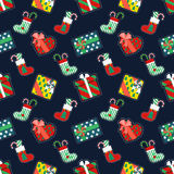Merry Christmas and Happy New Year Seamless Pattern with Gifts. Winter Holidays Wrapping Paper. Vector background Stock Photography