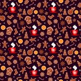 Merry Christmas and Happy New Year seamless pattern with gingerbread cookies, orange, sparkles and cup of tea isolated on brown ba. Ckground. Vector illustration vector illustration