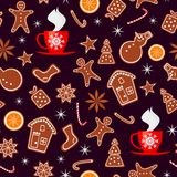Merry Christmas and Happy New Year seamless pattern with gingerbread cookies, orange, sparkles and cup of tea isolated on brown ba. Ckground. Vector illustration royalty free illustration