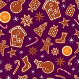 Merry Christmas and Happy New Year seamless pattern with gingerbread cookies, orange and sparkles isolated on dark lilac. Background. Vector illustration for stock illustration