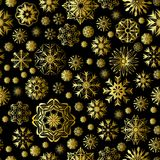 Merry Christmas and Happy New Year seamless pattern with golden snowflakes isolated on black. Abstract winter fairy background for your holiday design. Vector royalty free illustration