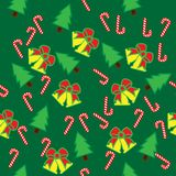Merry Christmas and Happy New Year seamless pattern. Merry Christmas and Happy New Year, herringbone, bells, bows, seamless pattern Stock Photos
