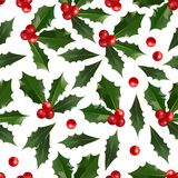 Merry Christmas and Happy New Year seamless pattern with holly berries isolated on white background. Abstract background for Christmas decoration. Vector royalty free illustration